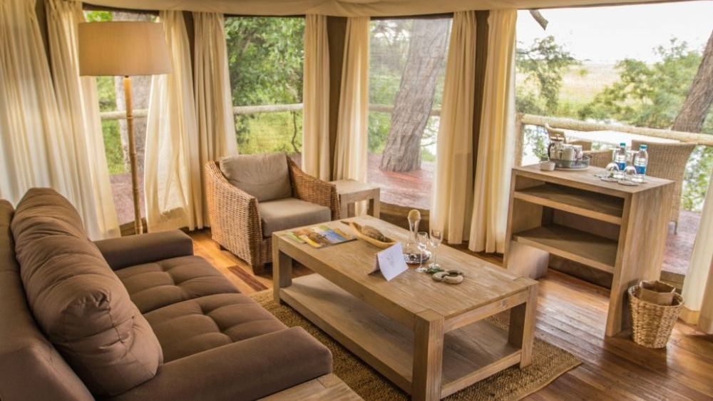 Luxury Tent, Nambwa Tented Lodge, Namibia Reise, Kwando Fluss