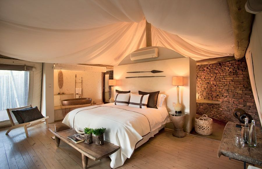 Schlafzimmer, Marataba Safari Lodge, Marakele Nationalpark, Südafrika Rundreise