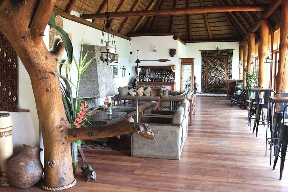 Lobby, Papaya Lake Lodge, Kibale Forest Nationalpark, Uganda Reise