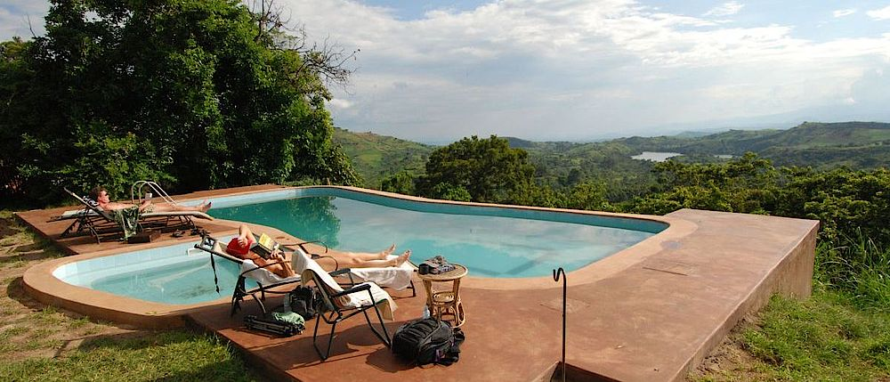 Privatreise Uganda, Pool, Ndali Lodge, Kibale Forest Nationalpark, Uganda