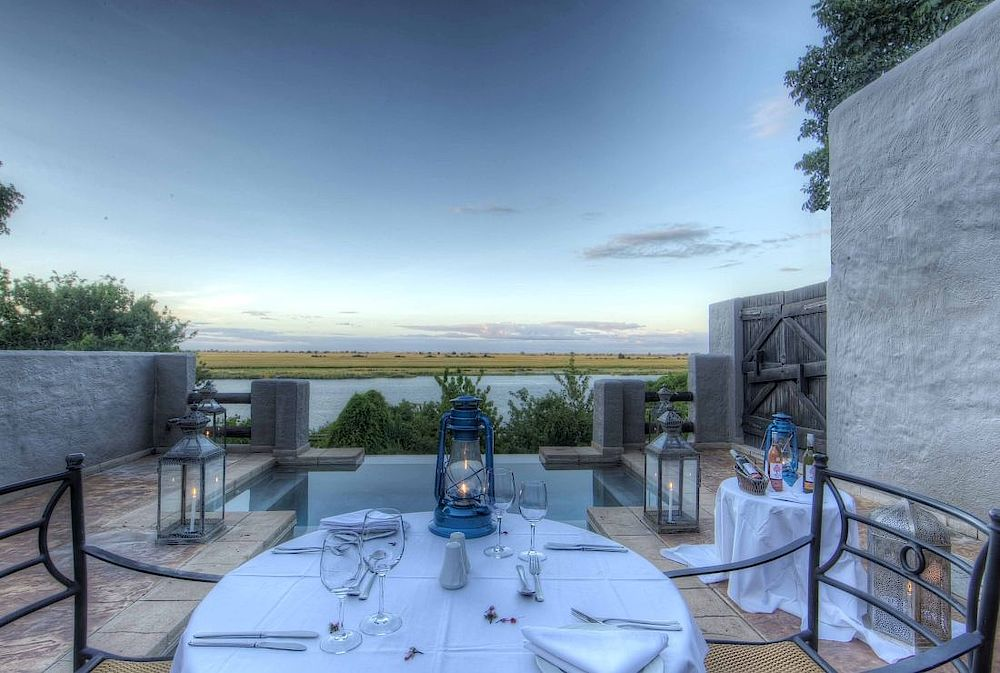 Terrasse, Chobe Game Lodge, Botswana Rundreise