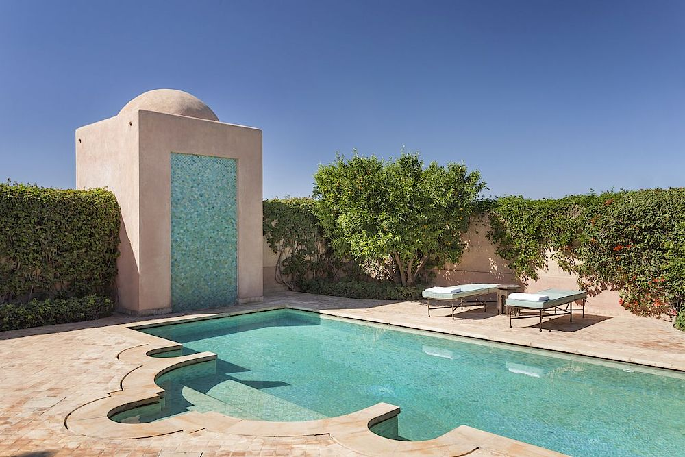 Rundreise Marokko, Poolbereich, Amanjena Luxury Resort, Marrakesch, Marokko
