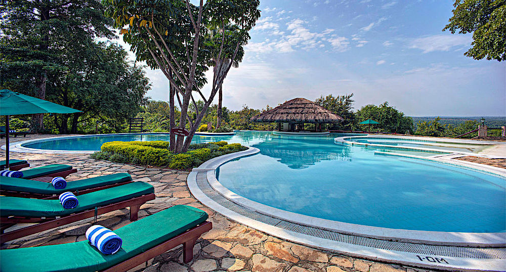 Privatreise Uganda, Poolanlage, Paraa Safari Lodge, Murchison Falls National Park, Uganda